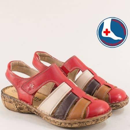 Ортопедични дамски сандали в червено, кафяво и бяло l5763chv