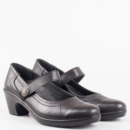 Дамски ежедневни обувки от висококачествена естествена кожа на ортопедично ходило в черен цвят l5701ch