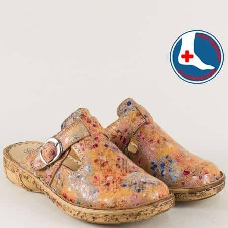 Ортопедични дамски чехли на шито ходило в бежов цвят l5747bjps