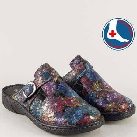 Дамски чехли от естествена кожа с пъстър принт- loretta l5747chps