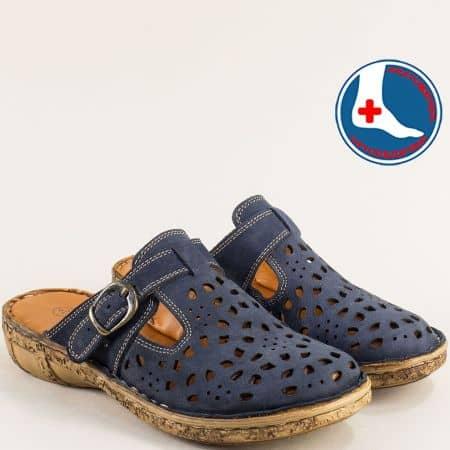 Сини дамски чехли от естествена набук с перфорация l5750ns1