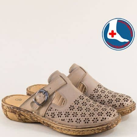 Бежови дамски чехли от естествена кожа с перфорация l5750tbj