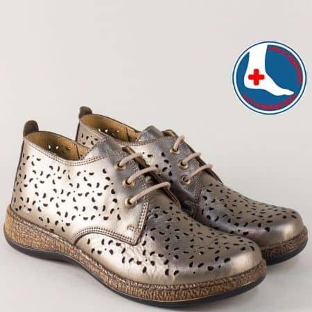 Бронзови дамски обувки от естествена кожа с перфорация l5752brz