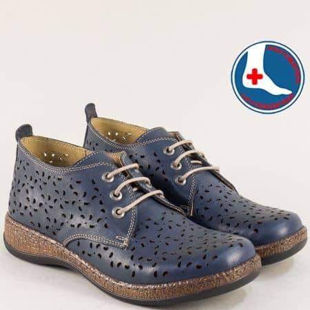 Перфорирани дамски обувки в син цвят- LORETTA l5752s