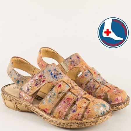 Пъстри дамски сандали със затворени пръсти- loretta l5763bjps