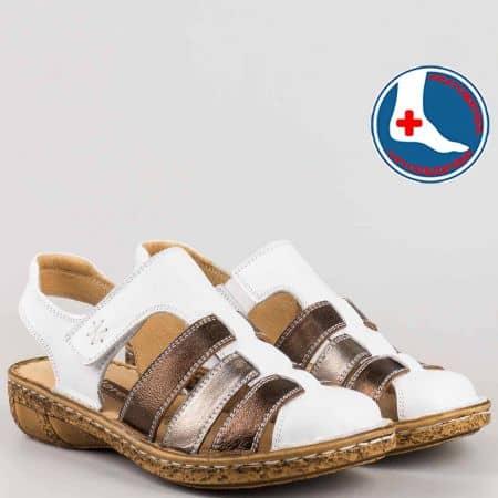 Бели дамски сандали с кожена ортопедична стелка- loretta l5763b