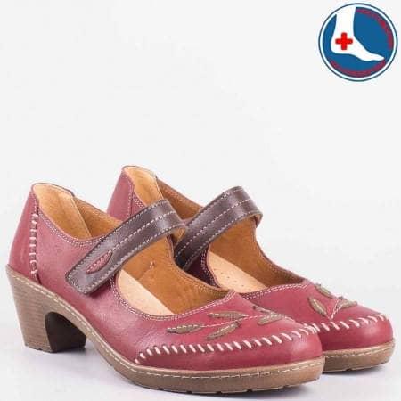 Ежедневни дамски обувки на среден ток в цвят бордо- loretta от естествена кожа с ортопедична стелка с вградена Flex- Comfort система  l5772bd
