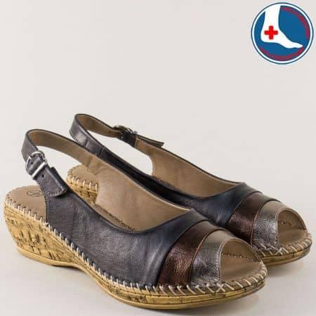 Ортопедични дамски сандали на клин ходило в черен цвят l5777ch