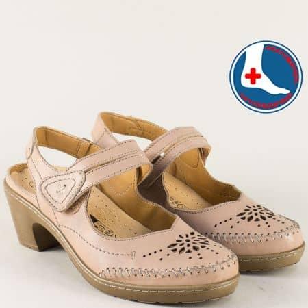 Ортопедични дамски обувки на среден ток в бежов цвят l5784bj