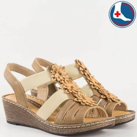 Дамски ортопедични сандали на шито клин ходило- Loretta изцяло от естествена кожа в кафяво l5810k