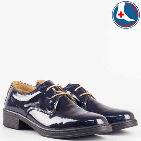 Дамски стилни обувки произведени от висококачествен естествен лак в  син цвят l5813ls
