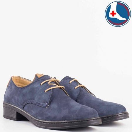 Дамски комфортни обувки изработени от висококачествен естествен набук с кожена стелка в син цвят l5813vs