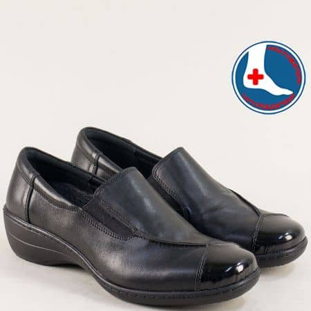 Ортопедични дамски обувки от естествена кожа в черно l5915ch