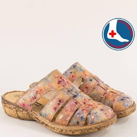 Кафяви дамски чехли на ортопедично ходило- loretta l5970ps