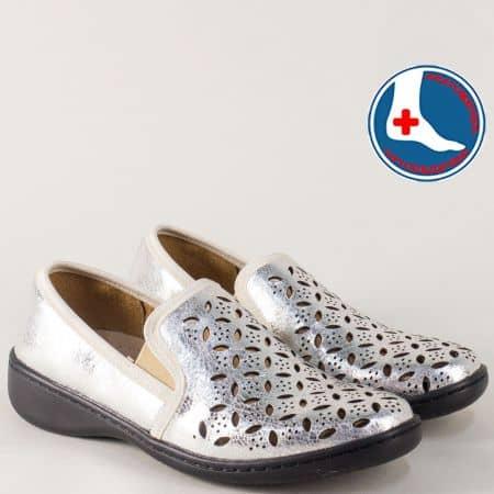 Сребърни дамски обувки с перфорация и кожена стелка l5973sr