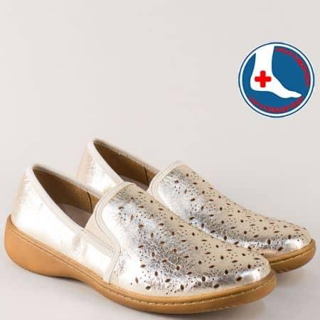 Златни дамски обувки на шито, ортопедично ходило l5973zl
