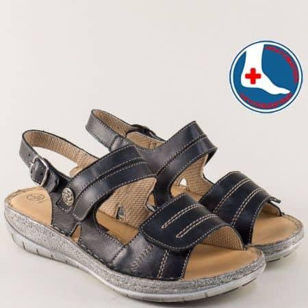 Шити дамски сандали в черен цвят с мека кожена стелка l5992ch