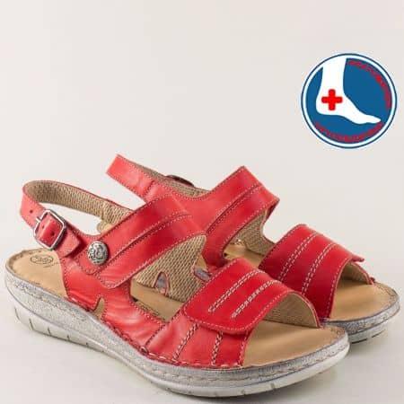 Ортопедични дамски сандали от червена естествена кожа l5992chv