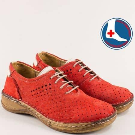 Дамски обувки с връзки от червен естествен набук- Loretta  l5994nchv