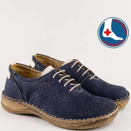 Шити дамски обувки в син цвят с кожена стелка- Loretta l5994ns