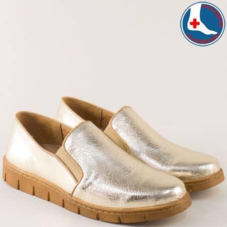 Ортопедични дамски обувки от естествена кожа в златисто l6016zl