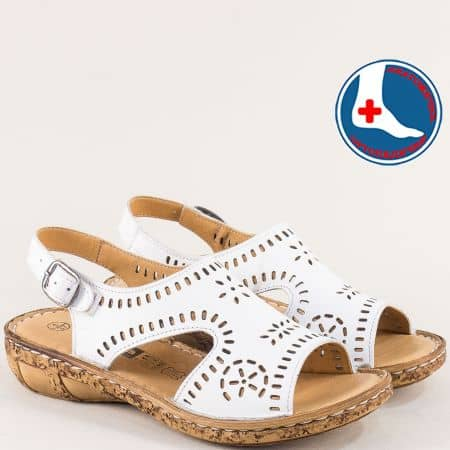 Бели дамски сандали от естествена кожа- Loretta l6040b