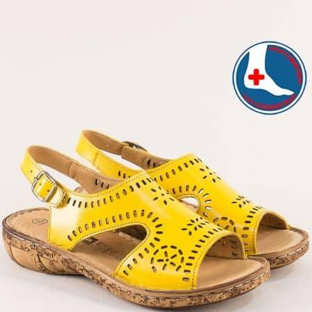 Жълти дамски сандали с перфорация на шито ходило l6040j