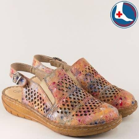 Пъстри дамски сандали от естествена кожа на равно ходило  l6045ps
