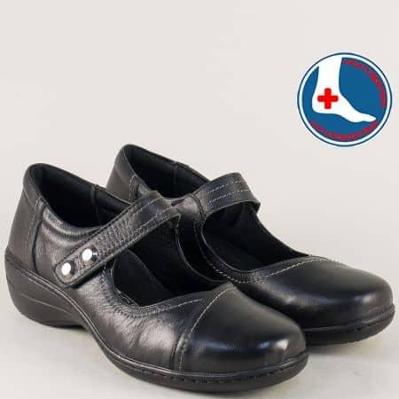 Ортопедични дамски обувки с лепка в черен цвят- Loretta l6119ch