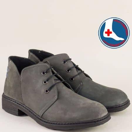 Шити дамски боти в сив цвят с връзки и кожена стелка l613865nsv