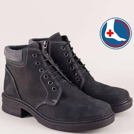 Шити дамски боти на нисък ток в черен цвят- Loretta l6158nch