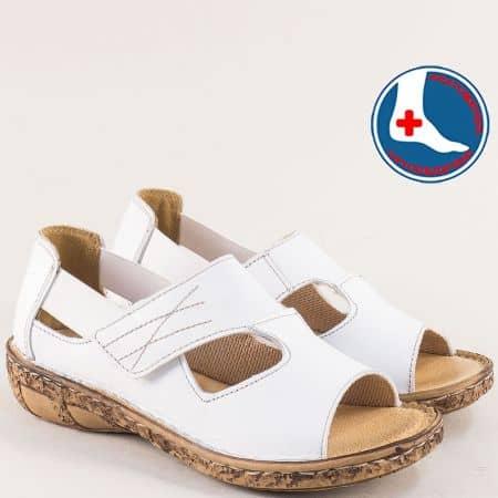 Кожени дамски обувки в бяло с отворени пръсти- LORETTA l6175b