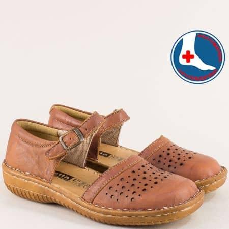 Кафяви дамски сандали с кожена ортопедична стелка l6203k