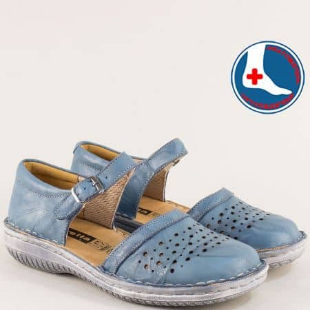 Сини дамски сандали със  затворена пета и пръсти от кожа l6203s