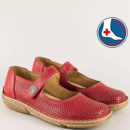 Анатомични дамски обувки с перфорация в червен цвят l6269chv