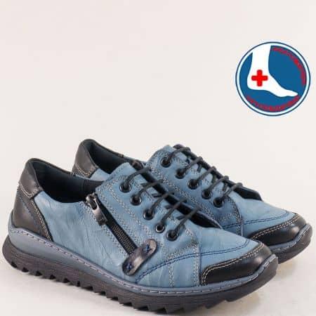 Кожени дамски обувки в синьо и черно- LORETTA l6294s