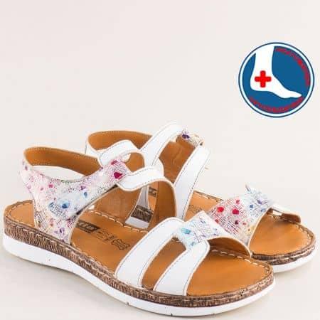 Ортопедични бели дамски сандали от естествена кожа l6383bps