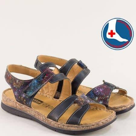 Ортопедични дамски сандали от естествена кожа в черно l6383chps
