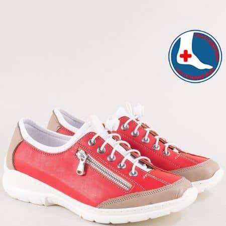 Червени дамски маратонки от естествена кожа  l6411chv