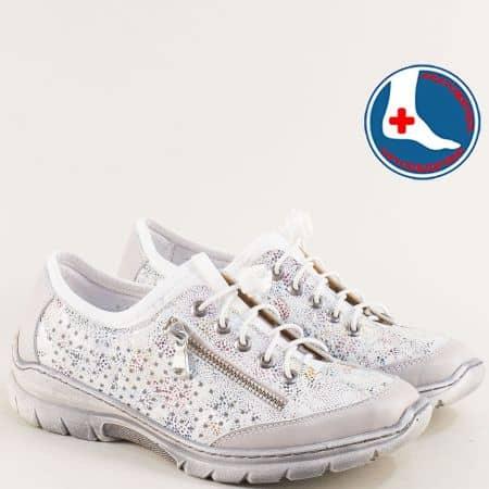 Светло сиви дамски маратонки от естествена кожа l6411svps