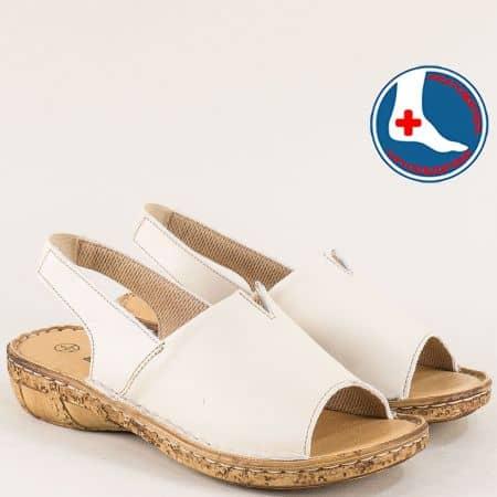 Бежови дамски сандали с кожена ортопедична стелка l6426bj