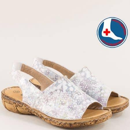 Ортопедични дамски сандали от естествена кожа в сиво l6426ps