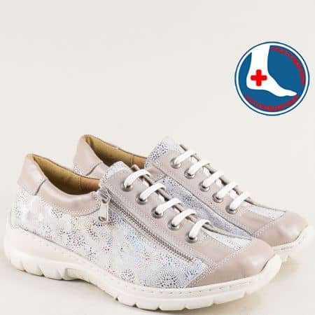 Спортни дамски обувки Loretta от естествена кожа с ортопедична стелка от кожа l6432bjps
