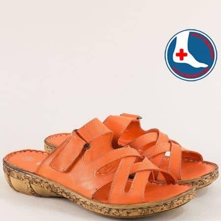 Ортопедични дамски чехли от естествена кожа в оранж l6434o