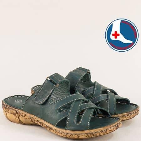 Зелени дамски чехли с кожена ортопедична стелка l6434z
