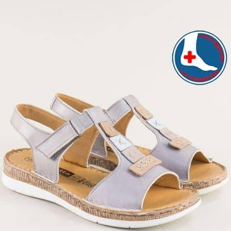 Сиви дамски сандали Loretta от естествена кожа на ортопедично ходило l6444sv
