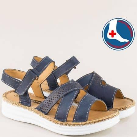 Ортопедични дамски сандали от естествена кожа в син цвят l6459s