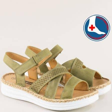 Зелени дамски сандали на анатомично ходило- Loretta l6459z