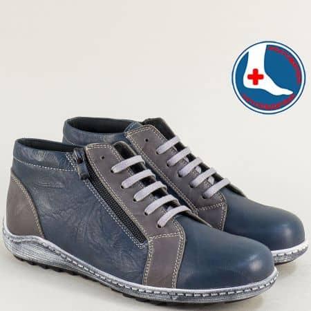 Дамски боти в сиво и синьо от естествена кожа- LORETTA l6478s