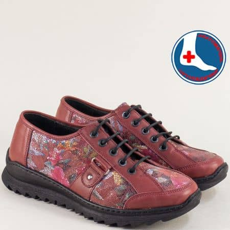 Дамски обувки в цвят бордо с кожена ортопедична стелка l6480bd